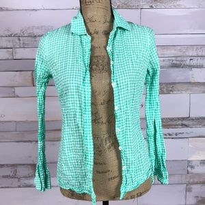 J Crew Spring Green Gingham Plaid Perfect Size 0